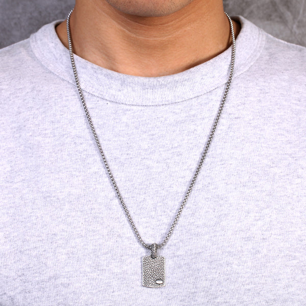 Mens Stainless Steel Dog Tag Necklace Chain