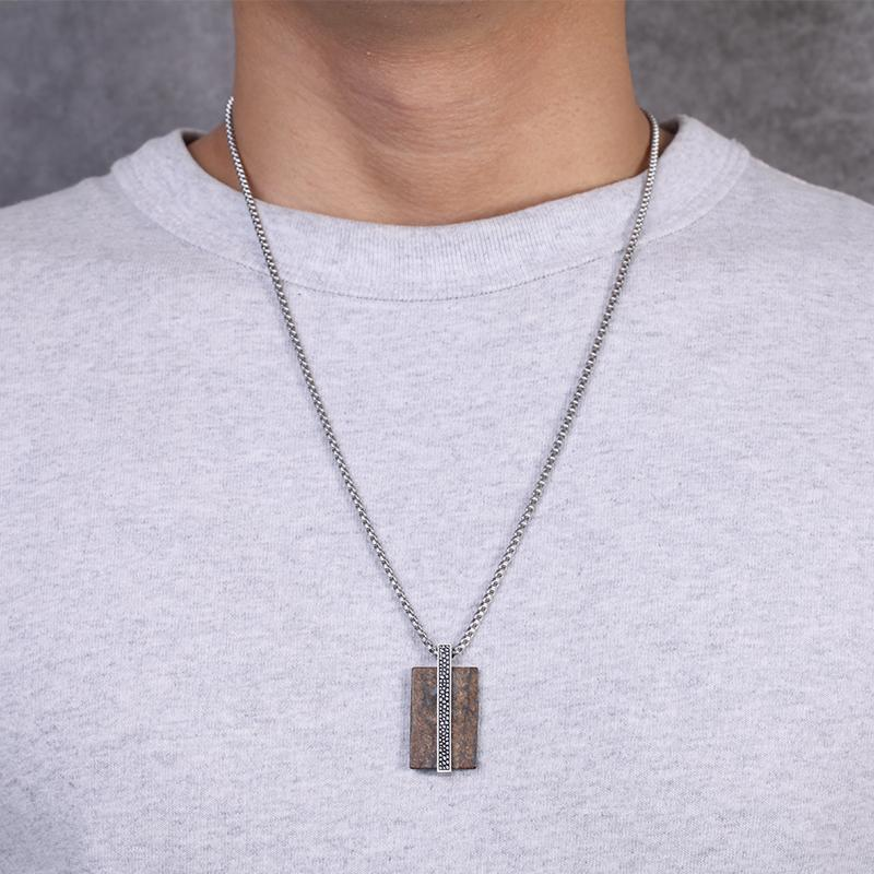 Mens Stainless Steel Dog Tag Necklace Pendant