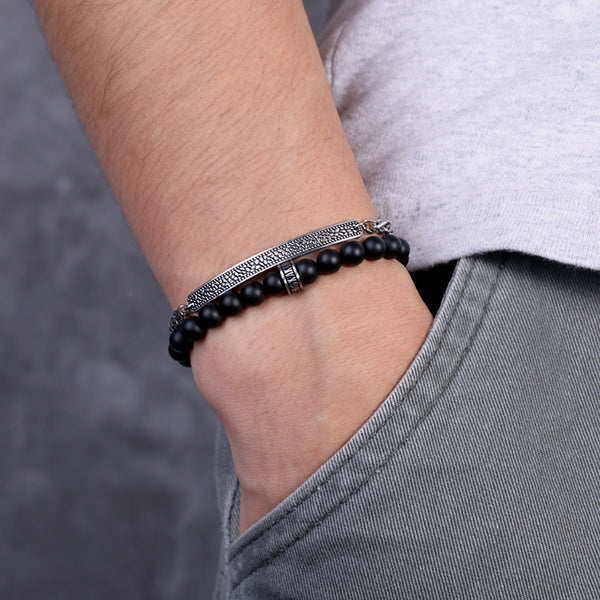 Onyx Stone Men Beaded Bracelet with Stainless Steel Chains Series