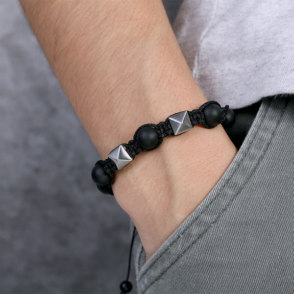 Black Mens Rope with Onxy Stone Beads Bracelets