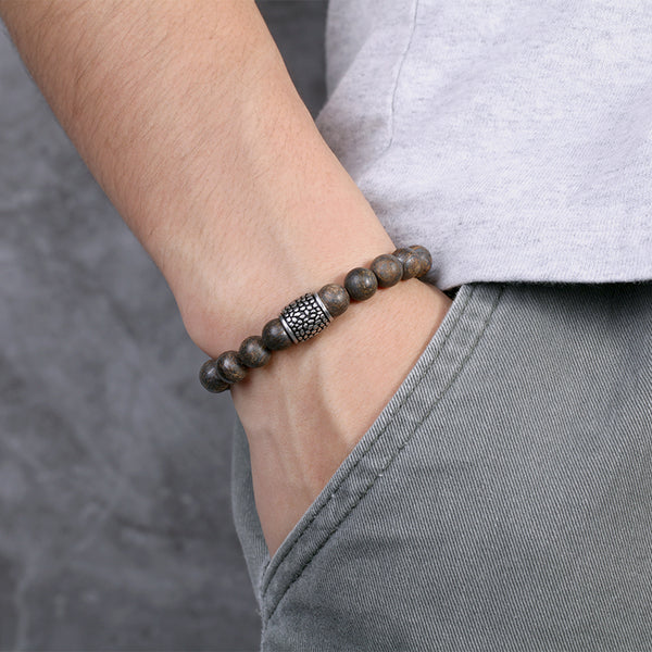 Classical Mens Brown Beaded Bracelet Bronzite Bracelets
