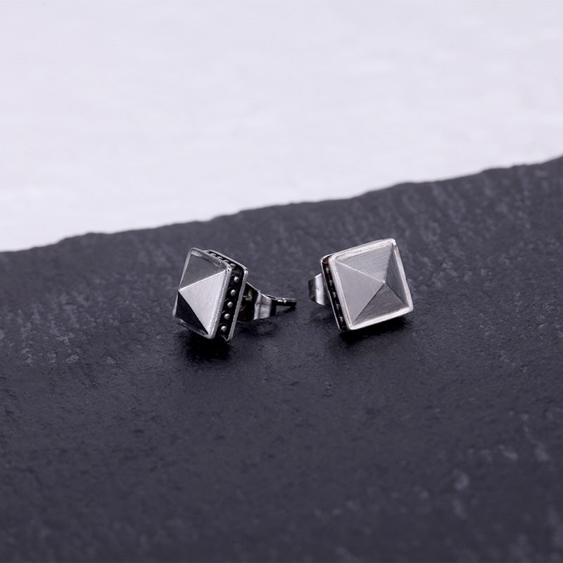 Stainless Steel Pyramid Ear Studs