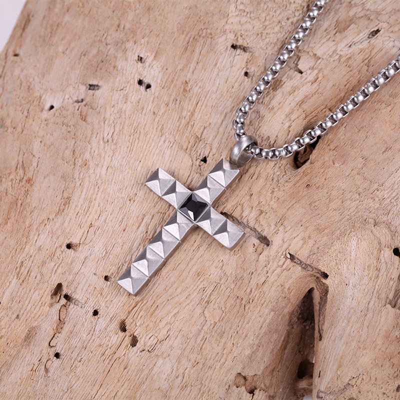 Punk Stainless Steel Cross Necklace Chains