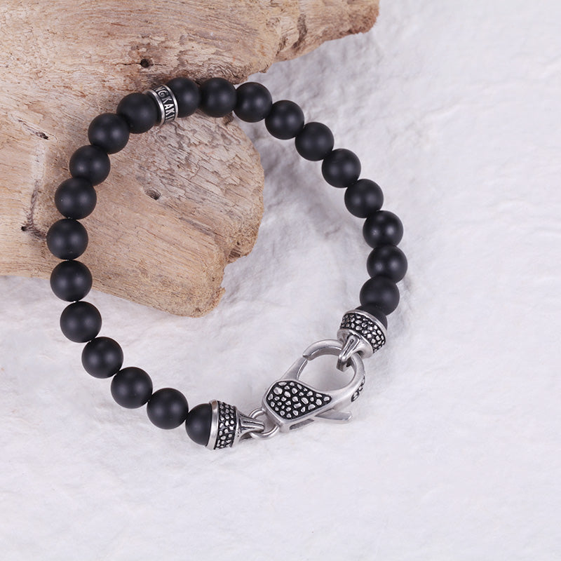 Rock Mens Onyx Bead Bracelet with Stainless Steel Clasp