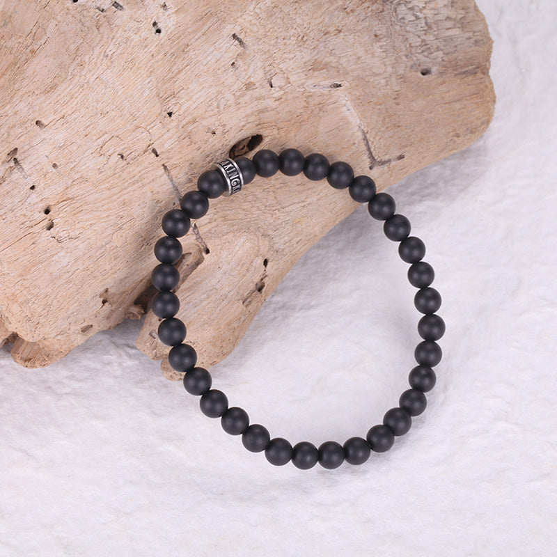 Men's Stacking Bracelet with Onyx, Reptile Engraved Chain - KINGKA Jewelry