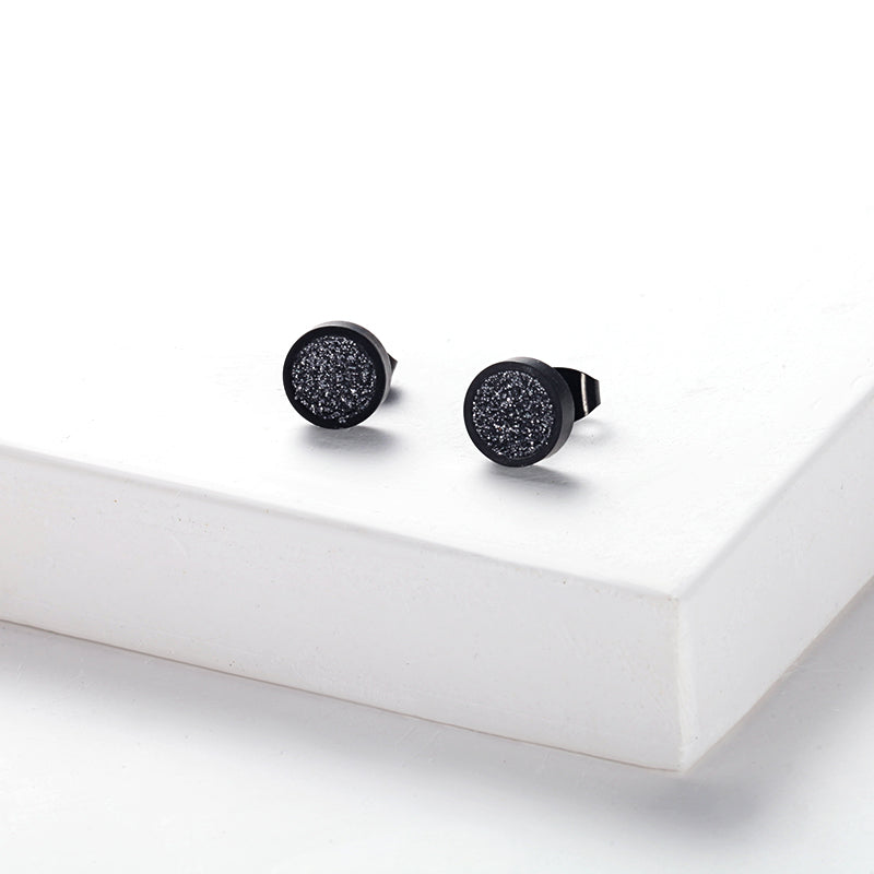Women Ear Studs Grey Glitter Dust