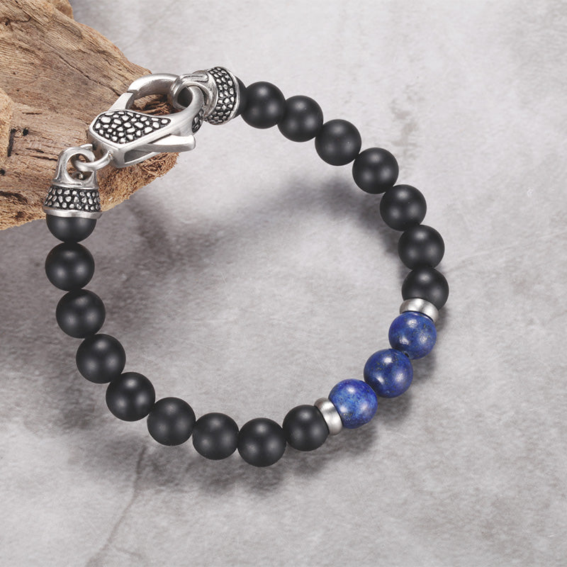 Mens Onyx Lapis Beaded Bracelet