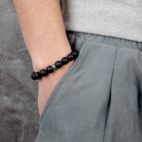 Mens Onyx Bronzite Beads Bracelet With Silver Clasp