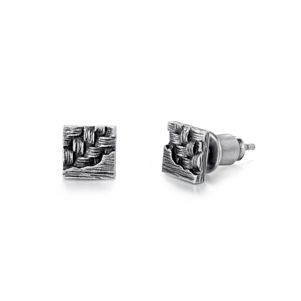 Men's Ear Studs Woven Square