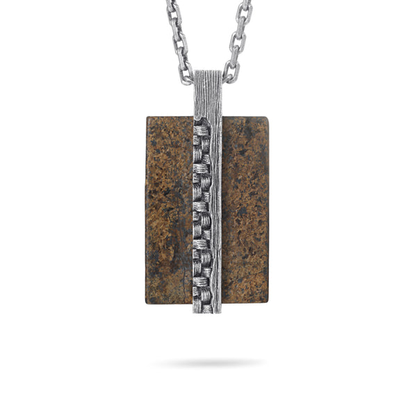 Men's Tag Necklace with Woven Element - KINGKA Jewelry