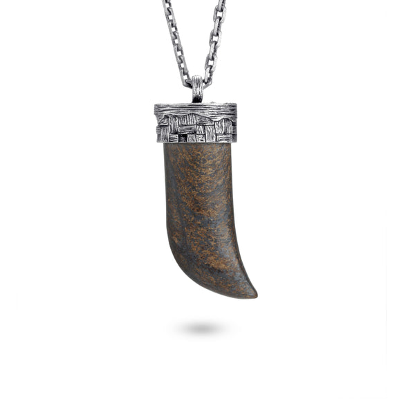 Men's Wolf's Fang Necklace with Woven