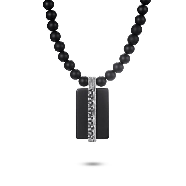 Men's Tag Necklace with Beaded Chain - KINGKA Jewelry