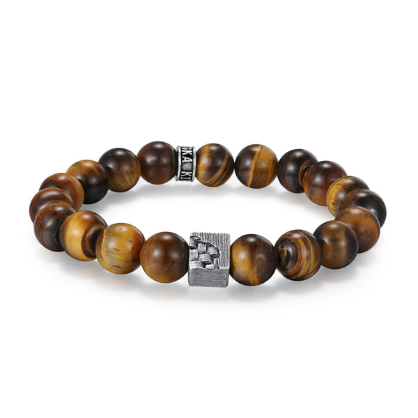 Men's Wristband with Tiger Eye, Woven Cube - KINGKA Jewelry