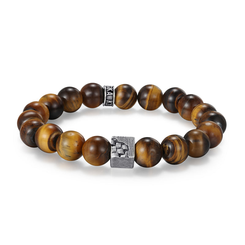 Men's Wristband with Tiger Eye, Woven Cube