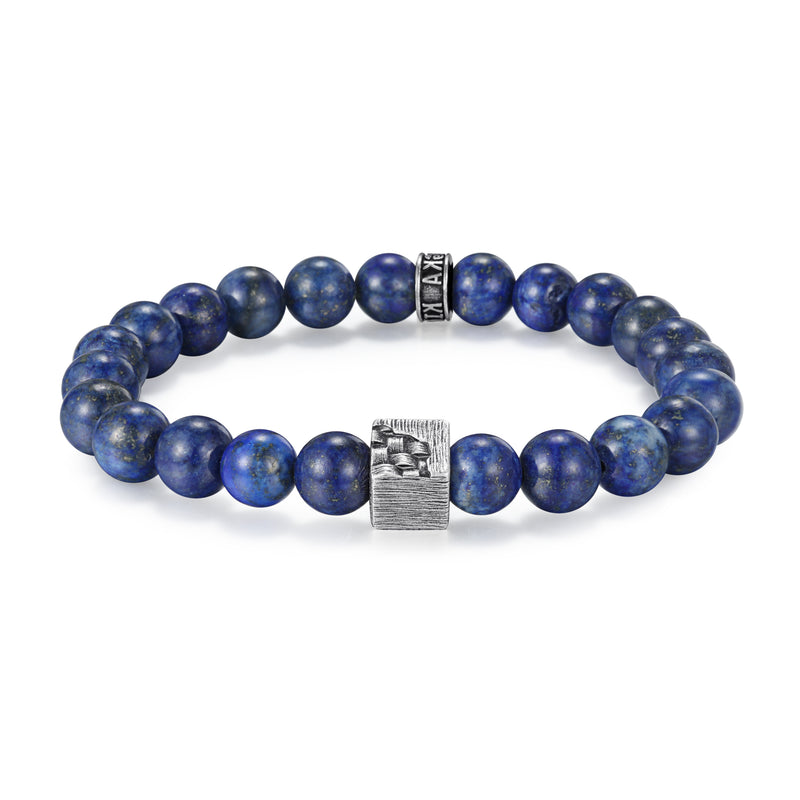 Men's Wristband with Lapis, Woven Cube