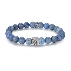 Men's Wristband with Dumortierite, Woven Cube