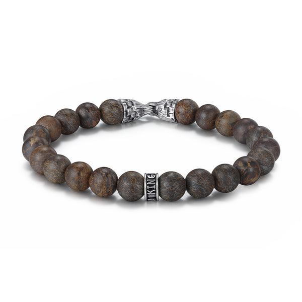 Men's Beaded Bracelet with Stones, Woven Clasp