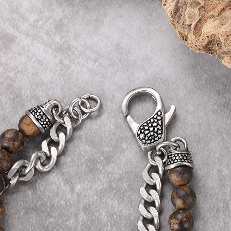 Men's Wrap-Around Bracelet with Stones, Curb Chain