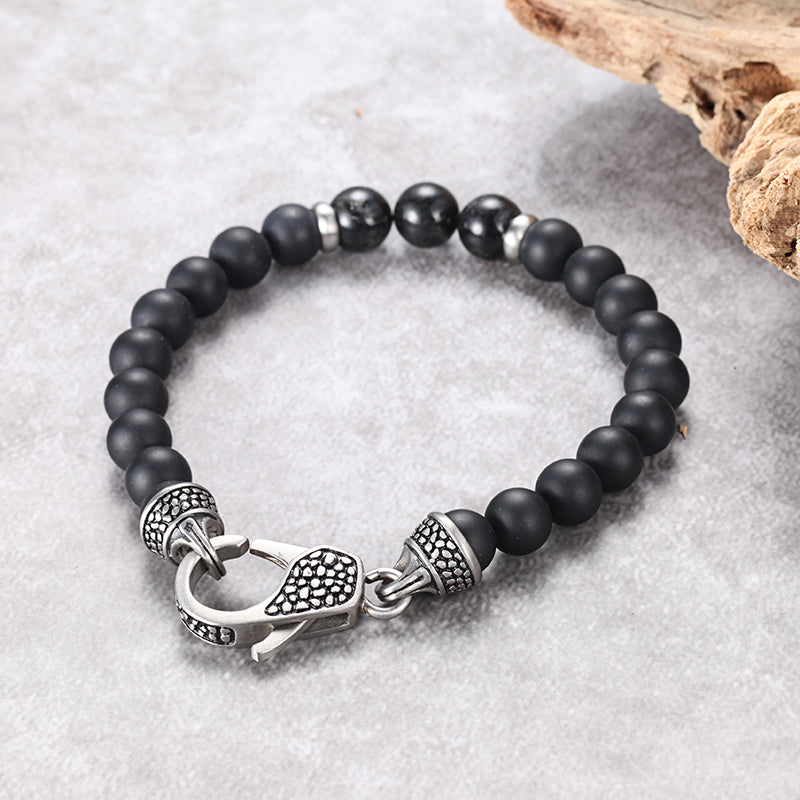 Men's Beaded Bracelet with Onyx and Tourmalated Quartz