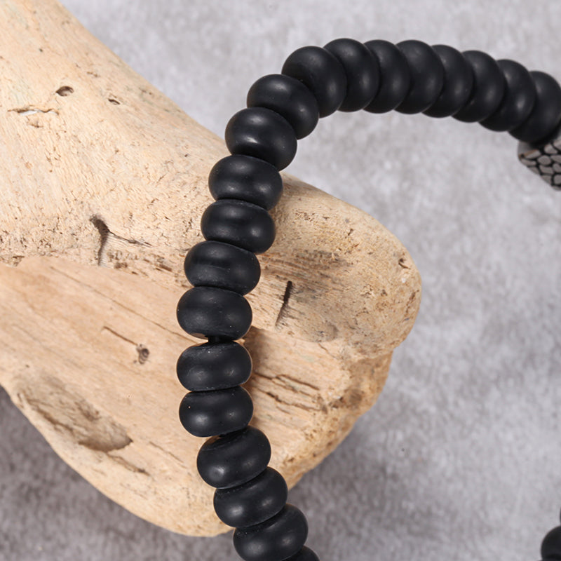 Men's Wristband with Abacus Onyx, Reptile Cube