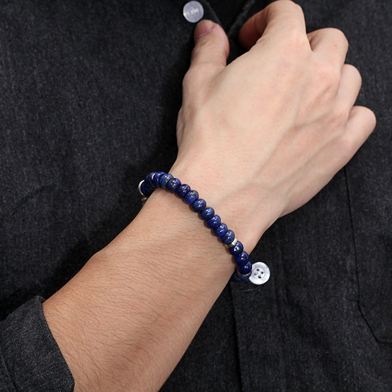 Men's Beaded Bracelet with Abacus Shape Lapis, Reptile Clasp