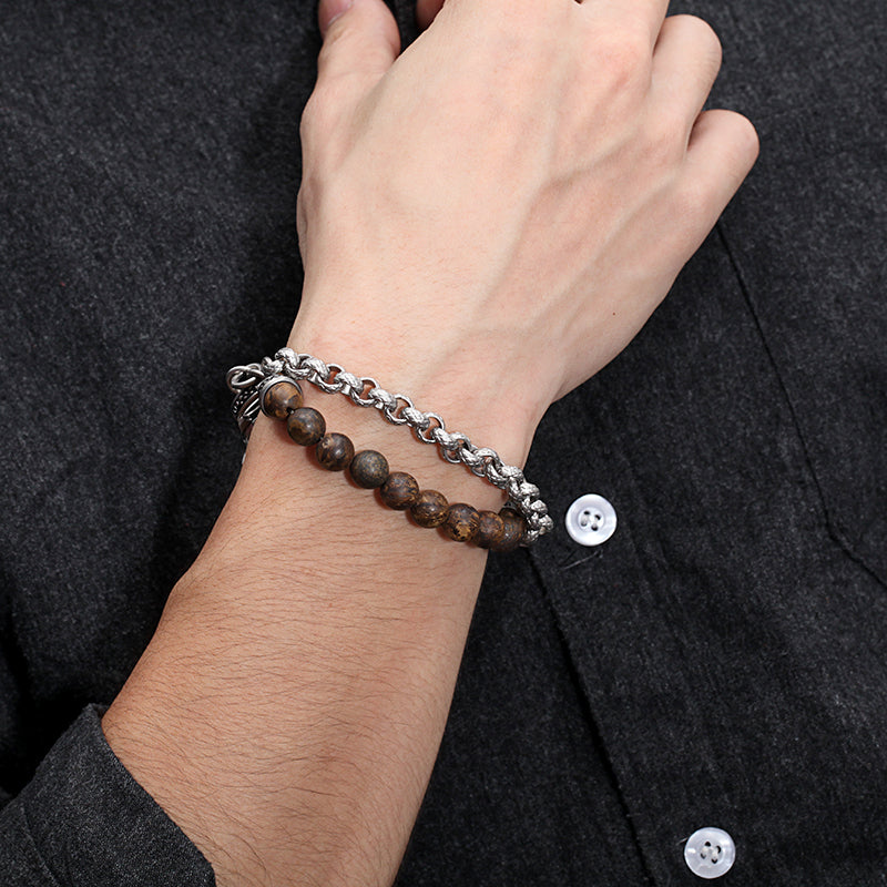 Men's Wrap-Around Bracelet with Stones, Cable Chain