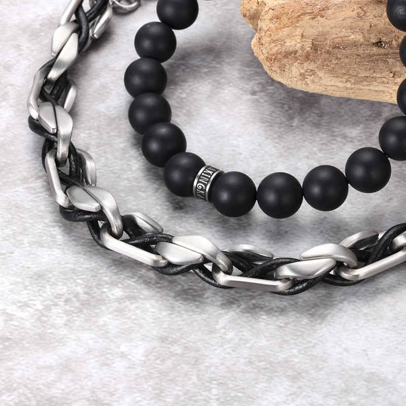 Men's Stacking Bracelet with Onyx, Chain