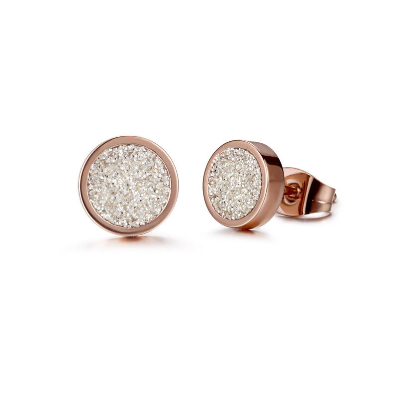 Women Ear Studs White Glitter Dust