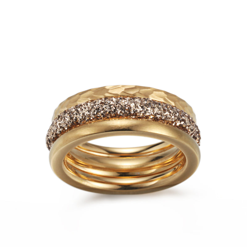 Women Stacking Rings Gold Glitter Dust