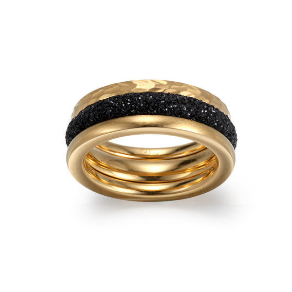 Women Stacking Rings Black Glitter Dust