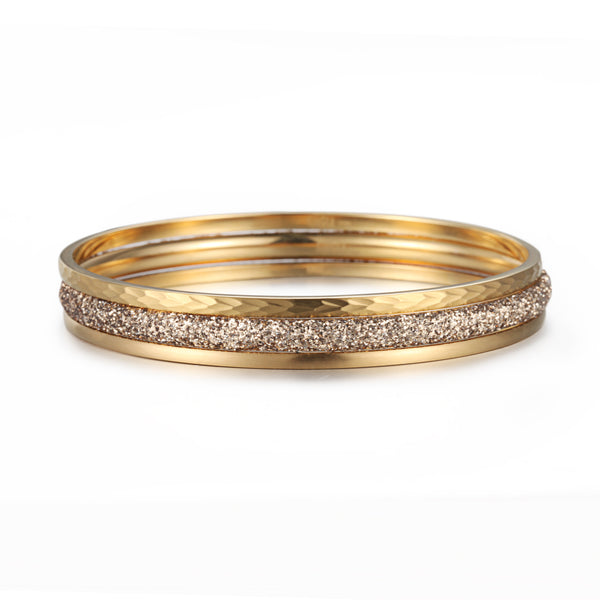 Women Stacking Bangles Gold Glitter Dust