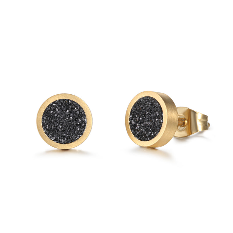Women Ear Studs Black Glitter Dust