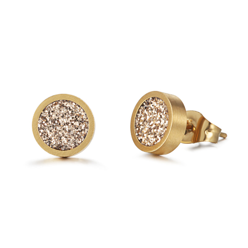 Women Ear Studs Gold Glitter Dust