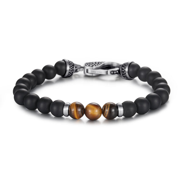 Men's Beaded Bracelet with Onyx and Tiger Eye