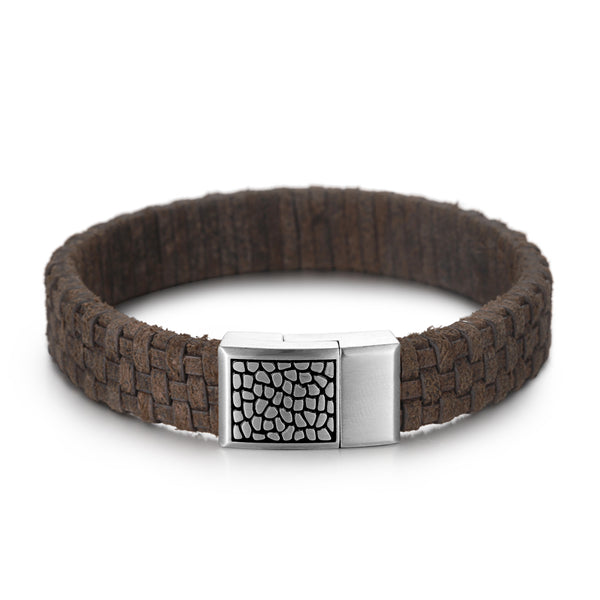 Men's Leather Bracelet with Reptile Snap