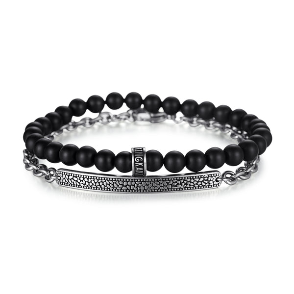 Men's Stacking Bracelet with Onyx, Reptile Engraved Chain