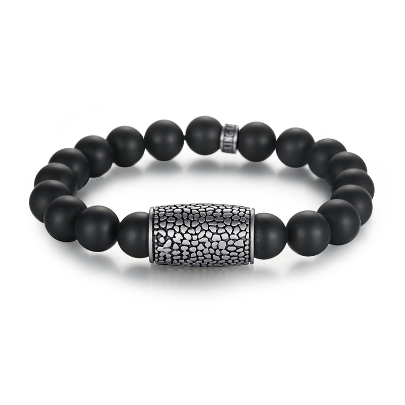 Men's Wristband with Stones, Reptile Charm