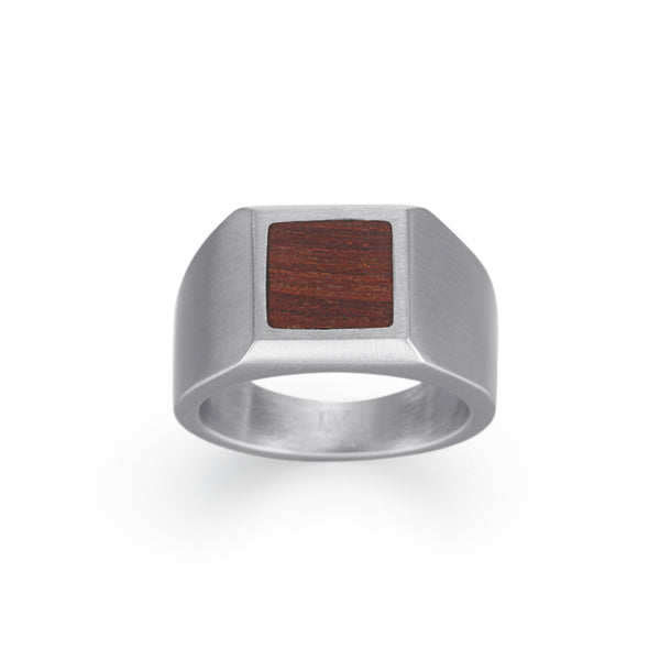 Men's Signet Ring Wood Inlay