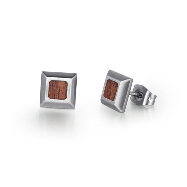 Men's Ear Studs Wood Inlay