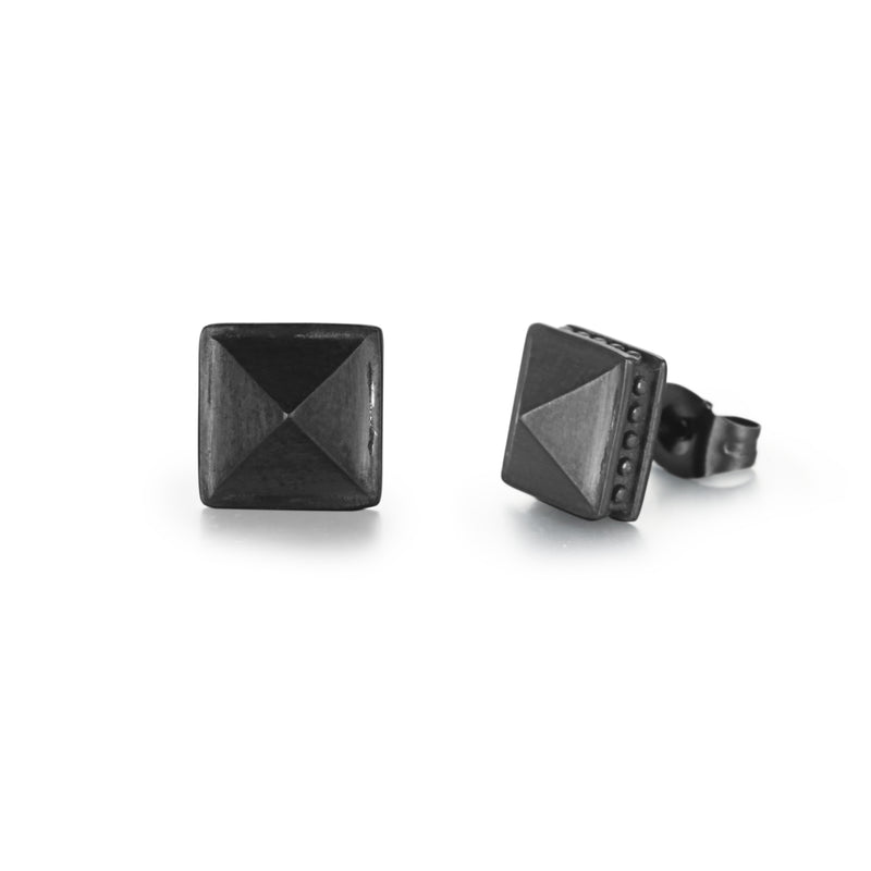 Men's Ear Studs Pyramid Square