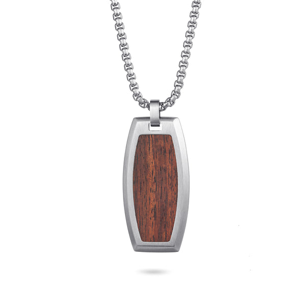 Men's Tag Necklace Wood Inlay