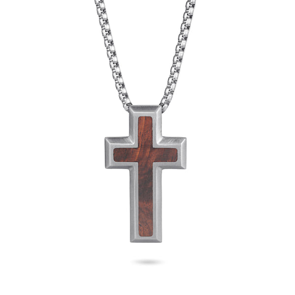 Men's Cross Necklace Wood Inlay