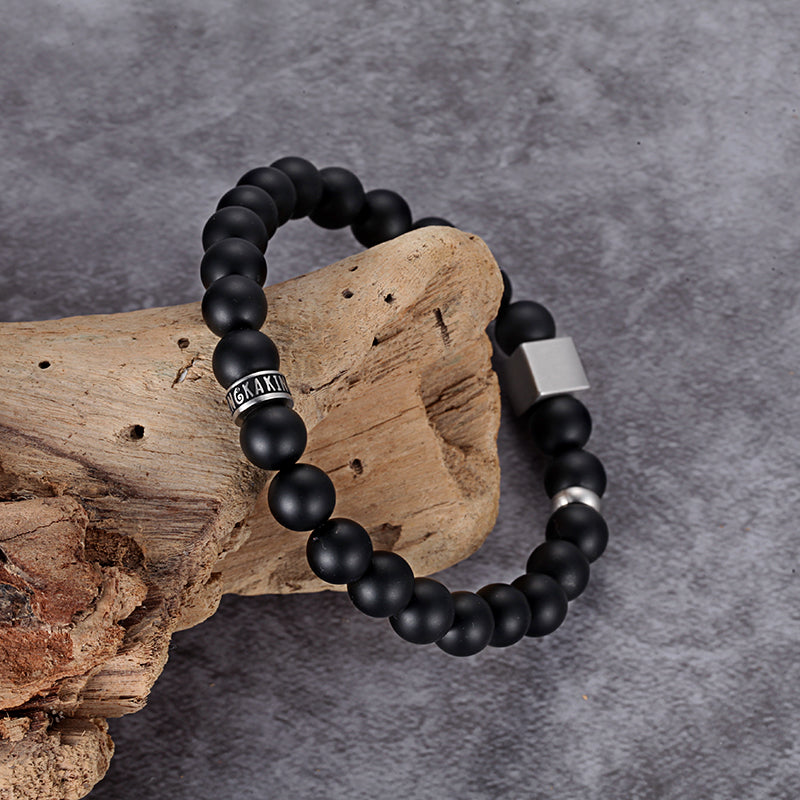 Rock Black Mens Beaded Bracelets Onyx Jewelry