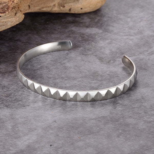 Stainless Steel Pyramid Bangle - KINGKA Jewelry