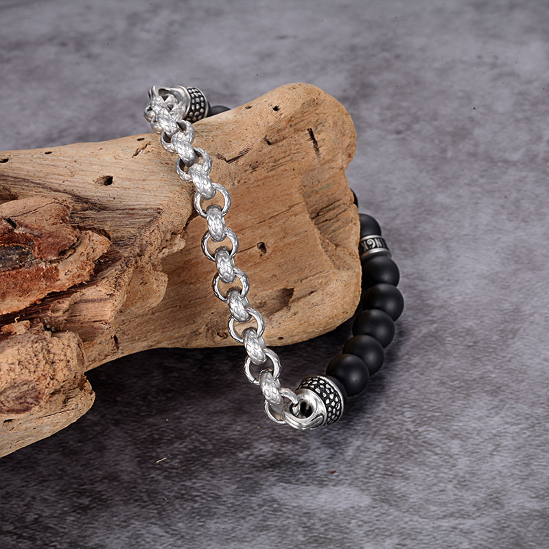 Mens Bracelets Black Brown Beads with Stainless Steel Chain