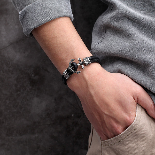Mens Leather Anchor Bracelet