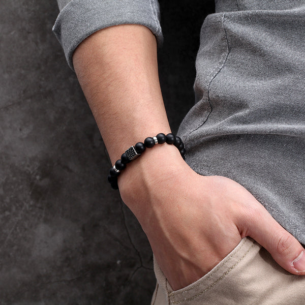 Stretch Black Onyx Beads Bracelet for Men