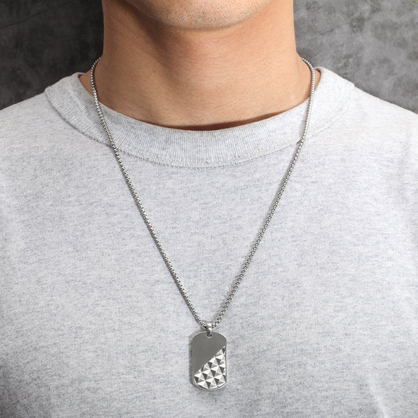 Men's Dog Tag Necklace Pyramid - KINGKA Jewelry