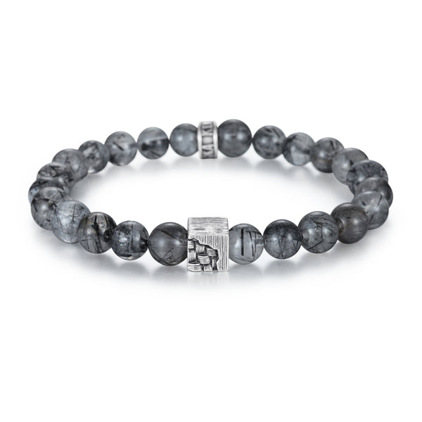 Men's Wristband with Tourmalated Quartz, Woven Cube