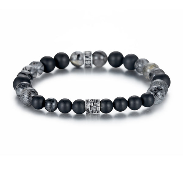 Men's Wristband with Onyx, Tourmalated Quartz